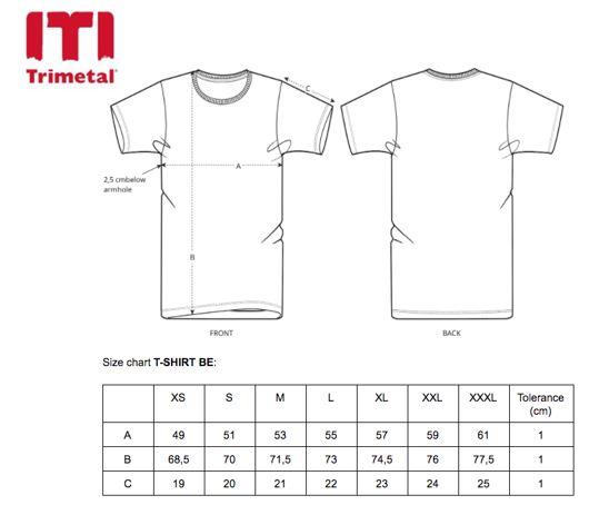 Size Chart T-shirt pocket