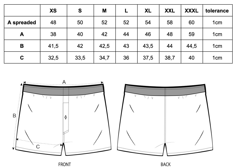 Swimshort size chart